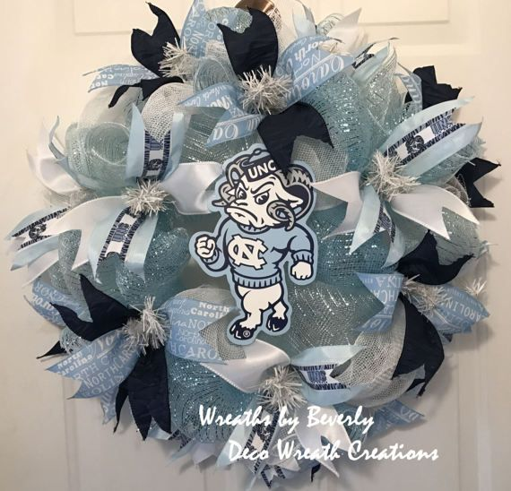 UNC Wreath University of North Carolina Wreath UNC Tarheels Wreath College Wreath Door Wreath Dorm Wreath Collegiate Wreath Deco Mesh Wreath by decowreathcreations. Explore more products on http://decowreathcreations.etsy.com