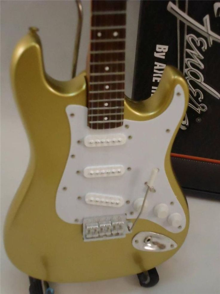 Miniature Licensed Fender Stratocaster Strat Gold Finish Axe Heaven #AxeHeaven