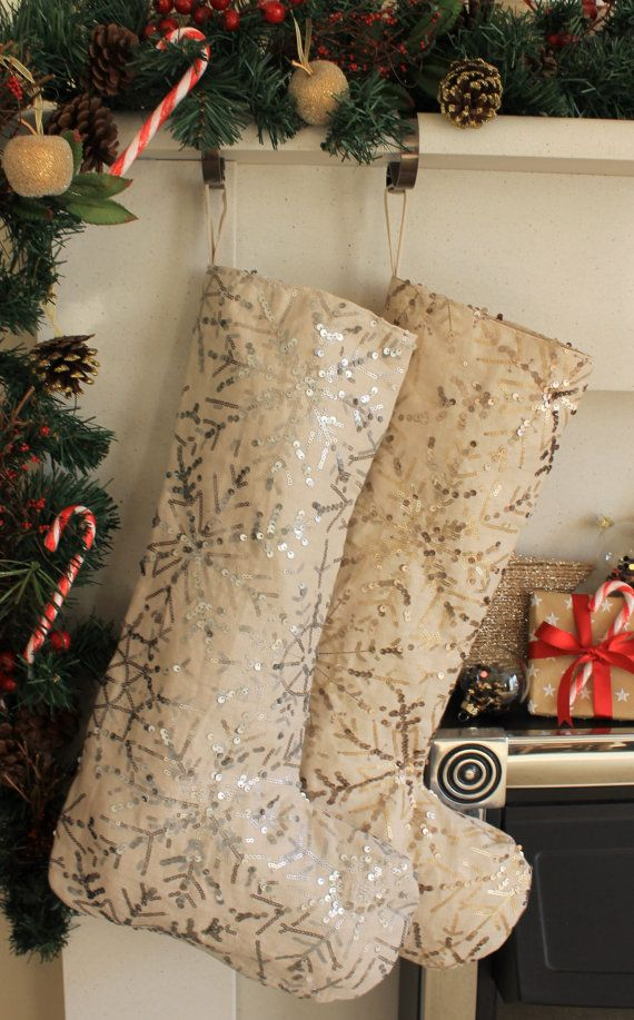 Silver Winter Wonderland Sequin Stocking - Medium - SAMPLE SALE