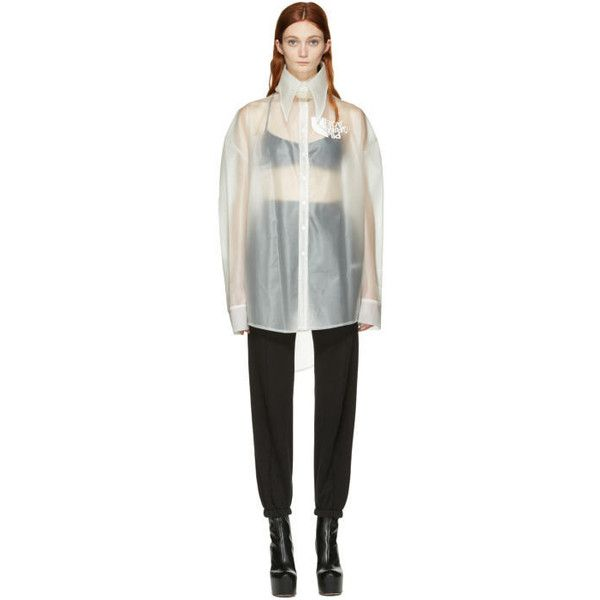 Hood by Air Transparent Latex Pilgrim Shirt ($615) ❤ liked on Polyvore featuring tops, transparent, long sleeve tops, sheer shirt, transparent shirt, long-sleeve shirt and white shirt