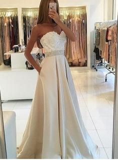 2017 zipper a line train sweep lace sweetheart evening dress