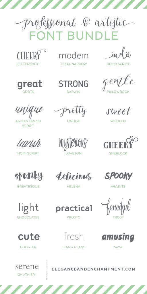 Professional and Artistic Font Bundle - a collection of typefaces in a variety of styles to keep you covered for any project that comes your way! Perfect for graphic designers, bloggers, crafters and creatives.