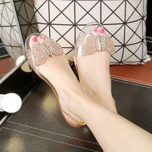Nueva playa de Verano de las mujeres ocasionales zapatos de la jalea de gladiador sandalias planas de las señoras peep toe cristal transparente mariposa planos KM123334(China (Mainland))