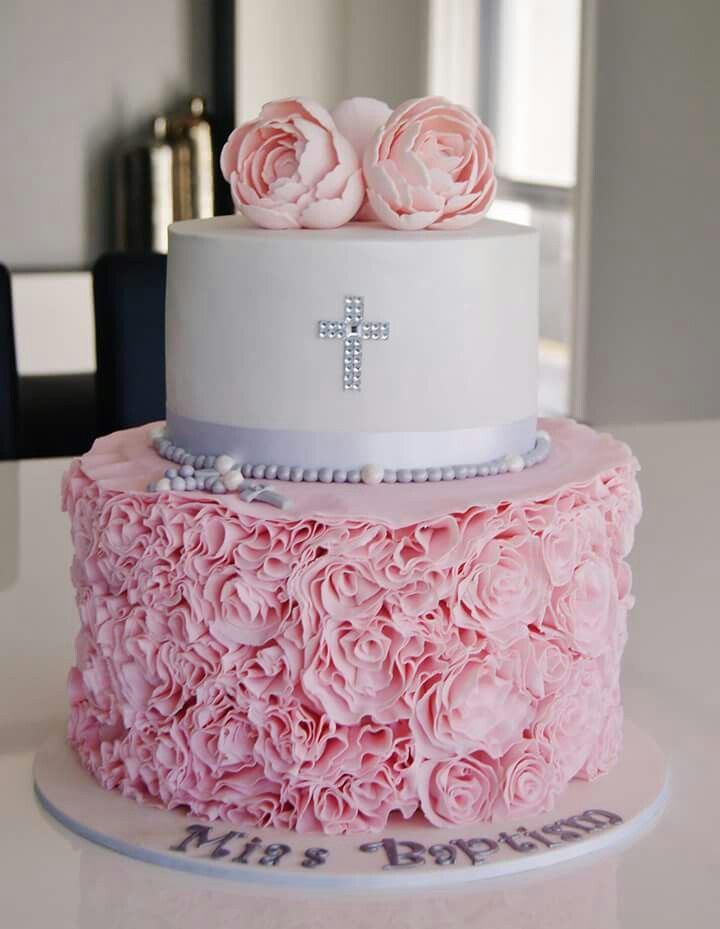 Pink & white Babtism/Christening Cake for a girl
