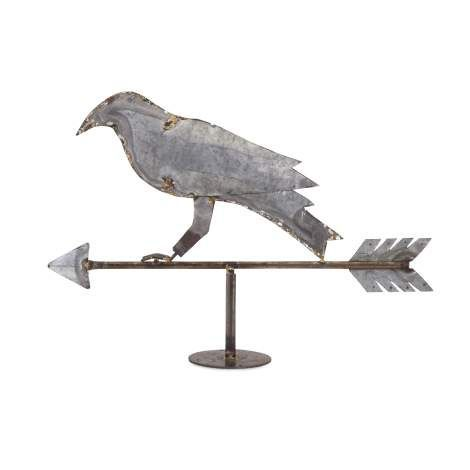 Add a touch of vintage farmhouse style with this rustic crow and arrow weather vane made of galvanized metal. Whether displayed on a tabletop or a fireplace mantle, this is definitely a conversation piece.