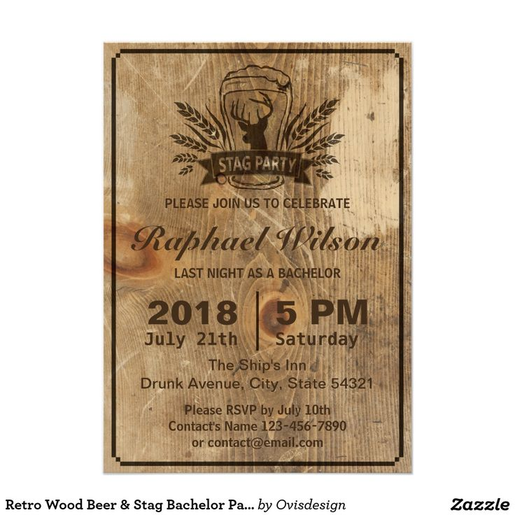 funny bachelorette party sayings for invitations%0A Retro Wood Beer  u     Stag Bachelor Party Card