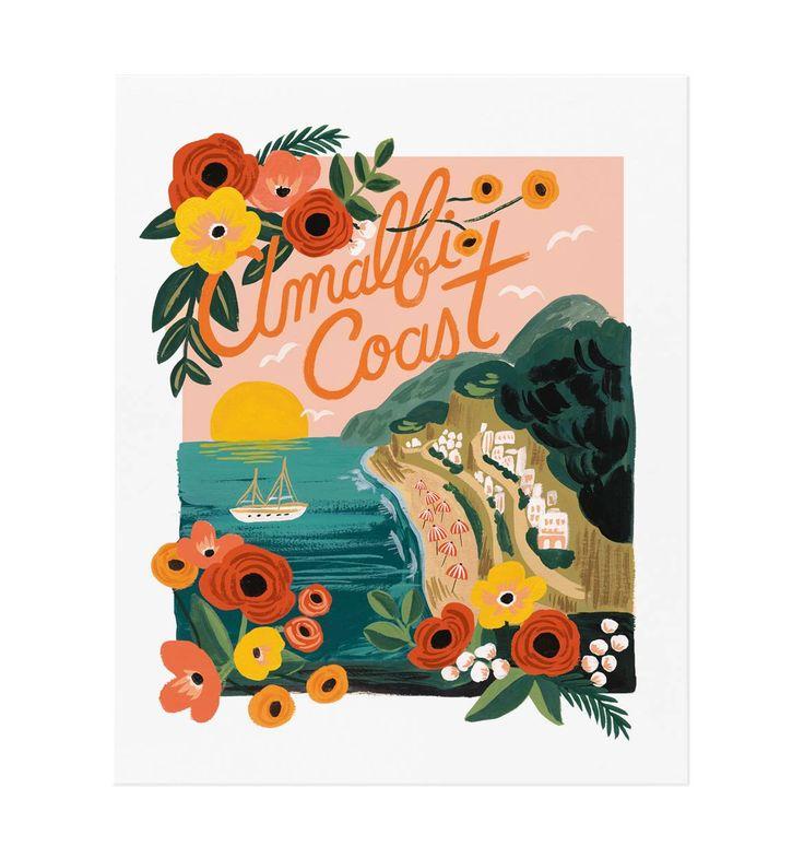 Illustrated Art Print created from an original gouache painting by Anna Bond. https://riflepaperco.com/shop/art-prints/amalfi-coast-everyday-illustrated-art-print/