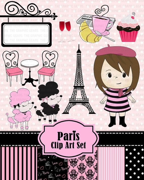 Paris Clip Art Paris French Clipart Set - French girl, eiffel tower, poodle, croissant, café table  (personal or commercial use)