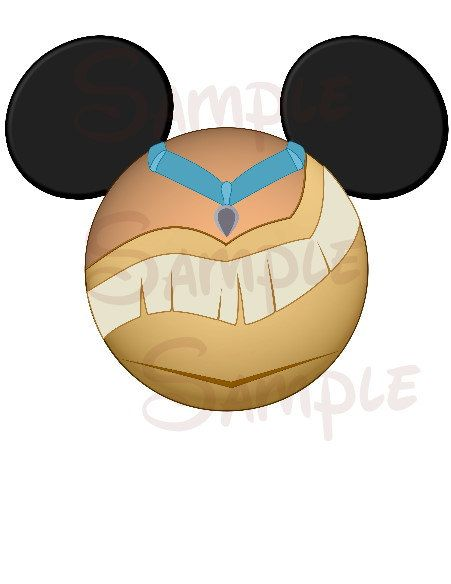 Pocahontas Character inspired Mickey head DIGITAL printable file DIY on Etsy, $3.00