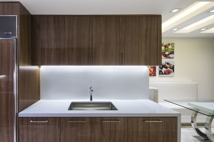 Designer: Sarah Zohar, Photo Credit: Paul Stoppi, The kitchen at the Ocean Palms condo in Hollywood,FL