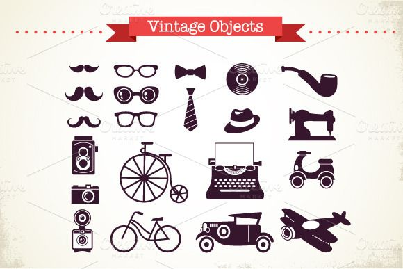 Vintage Hipster vector objects set ~~ Vintage Hipster vector icons and elements set Eps 10