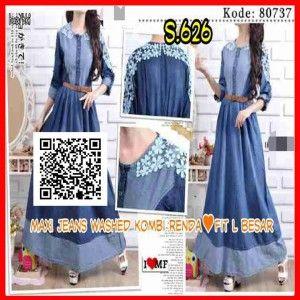 baju maxi dress remaja modern bahan jeans s626