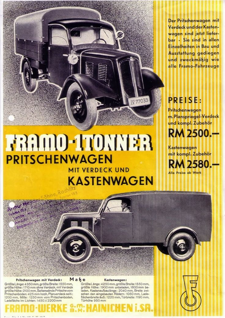 1934 Framo released its first four wheeled commercial, the HT600. Powered by an 18 horsepower DKW two-cylinder, water-cooled, two-stroke engine, it was capable of carrying a payload of almost a ton. 1200 were built between 1934 and 1937.