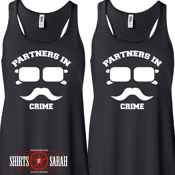 Womens Best Friends Shirt Tanks - Tank Tops Hipster Incognito Partners In Crime Tops Shirts- hahaha