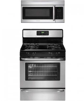 frigidaire ffgf3053ls 30 gas range 2piece stainless steel kitchen package with ffmv164ls over the range double wall