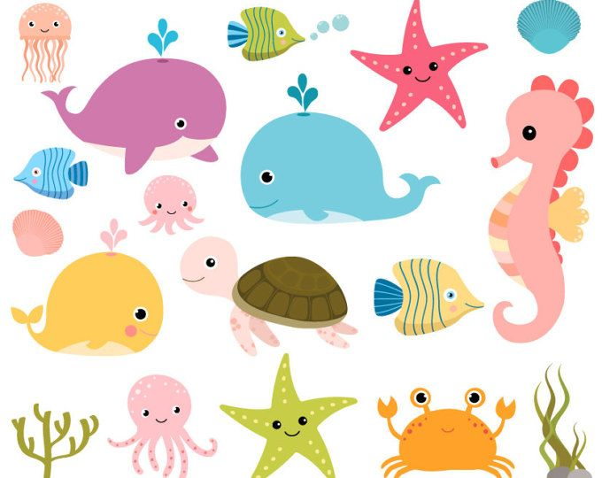Sea Animal Clipart Sea Animal Clip Art Sea Creatures Fish Clipart Fish Clip Art Commercial Use Cartoon Sea Animals Animal Clipart Under The Sea Clipart