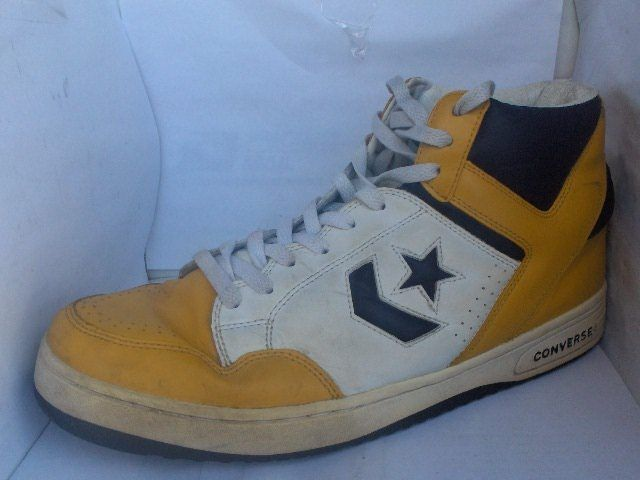 RARE VINTAGE CONVERSE WEAPONS MENS YELLOW/PURPLE LEATHER HIGHTOP SNEAKERS  #Converse #BasketballShoes