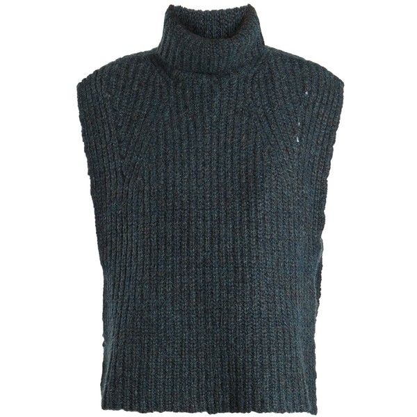Isabel Marant Étoile Delwood wool-blend sleeveless sweater (1.100 BRL) ❤ liked on Polyvore featuring tops, sweaters, mid blue, sleeveless sweater, blue sweater, no sleeve shirt, cut loose shirt and layering shirts
