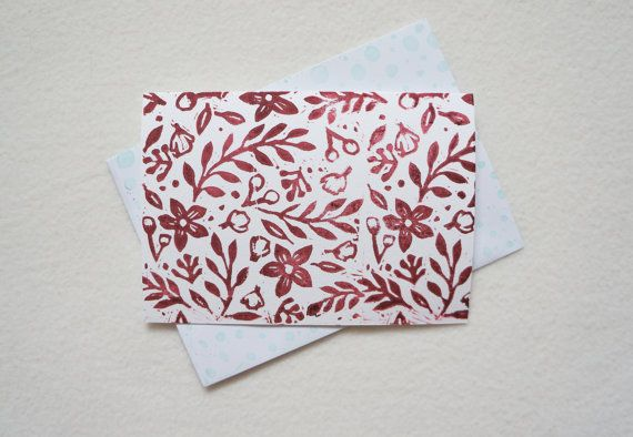 Botanical Block Print Card Floral Plants Foliage Leaves hand printed art note card blank greeting card in maroon red ink. Free UK Shipping