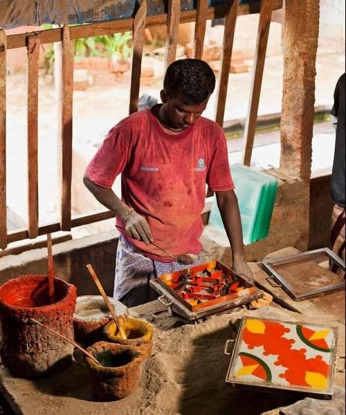 Handmade and sundried tiles used to keep the floors cool - Chettinad, Tamil Nadu.