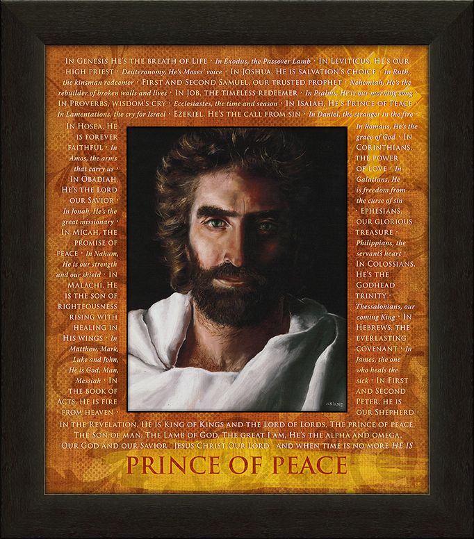 "Carpentree's Prince of Peace Through Scripture artwork includes the picture of Jesus from the New York Times Bestseller ""Heaven is for Real""as painted by Akiane Kramarik at its center. The matt includes striking orange and yellow colors, scripture referring to the names of Jesus and a shimmering cross.     Measures 24"" H x 21"" W x 1"" L. Carpentree item 23417."