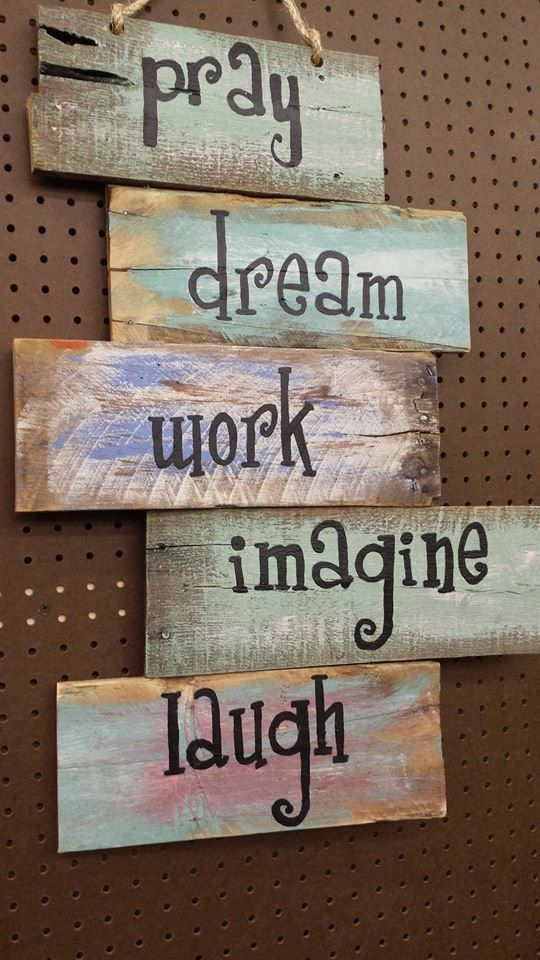Pray Dream Work Imagine Laugh Pallet Sign Colorful by TheEtcShop, $75.00