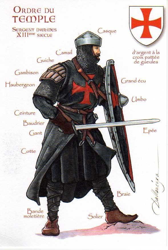 Cavalieri Templari, sergente - Sergenti erano uomini di entrambi nessuno nobile nascita o uomini che si sono sposati. Indossavano il mantello nero invece di bianco.