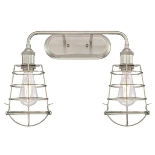 Westinghouse 6336400 Oliver 2 Light 18-11/16 Wide Wall Sconce with Brushed Nick, Silver aluminum