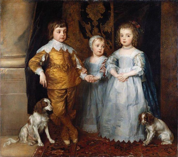 Anton (Anthony) Van Dyck. 'Los tres hijos mayores de Carlos I', Óleo sobre lienzo 133,8 x 151,7 cm., 1635-36. Royal Collection, Reino Unido