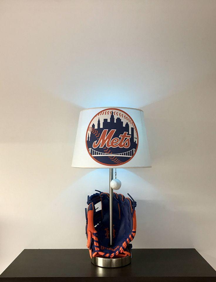 New York Mets Lamp, Baseball Lamp, Baseball, MLB, New York Mets, kids night light, sports, baseball glove, Mets, NY Mets, baseball Light, baseball, Mets, table lamps, lamps, lamp, table lamp, lights, home decor, home and living, kids room decor, decor, sports decor, baseball decor by CaliradoArt on Etsy https://www.etsy.com/listing/513254046/new-york-mets-lamp-baseball-lamp