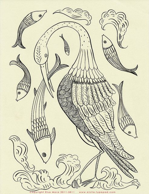 Fish and bird embroidery pattern-free.