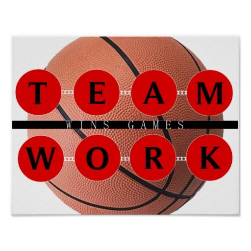 Motivational TEAMWORK Wins Games Basketball Poster