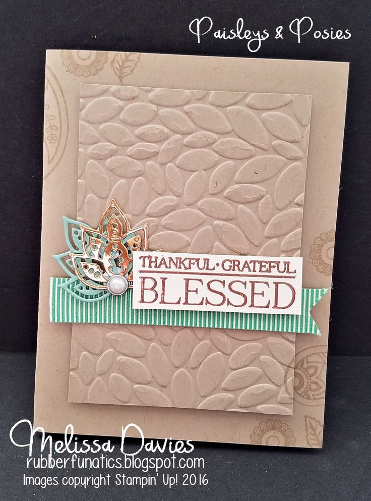 handmade Thanksgiving card fro RubberFUNatics: Blessed ... sand and aqua .. luv the die cut paisley leaves that evoke a turkey ... great layout ... Stampin' Up!