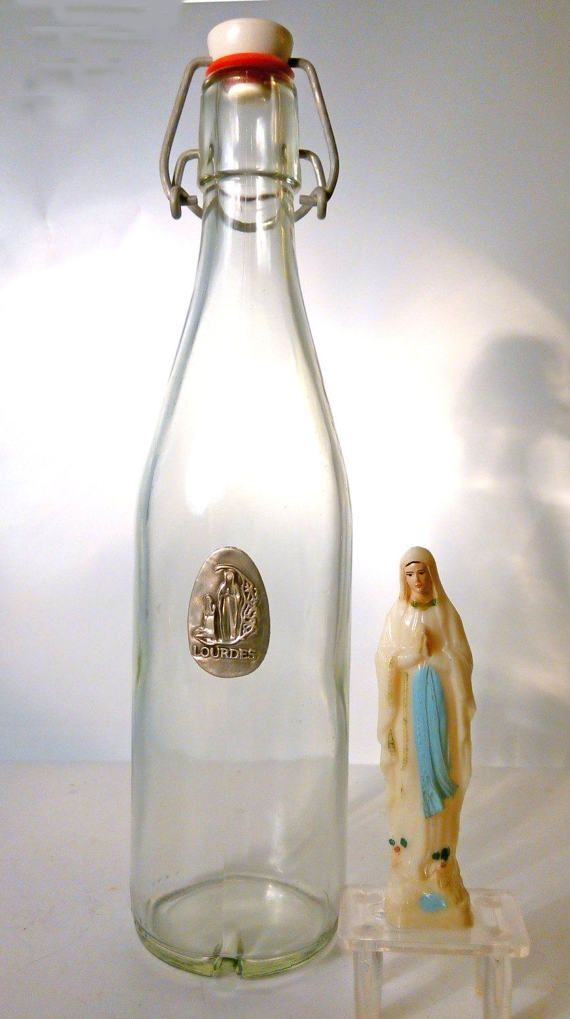 Vintage French LOURDES Holy Water Bottle. Clear Glass with Official Silver Madonna Emblem. Miracle Cure. Retro Religious Iconography