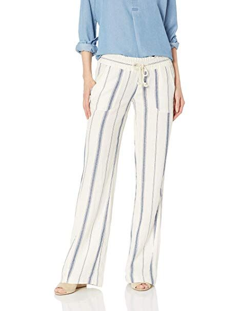 74745e96d2 Roxy Junior's Oceanside Yarn Dyed Beach Pant, Marshmallow Tea Party Stripe,  XS