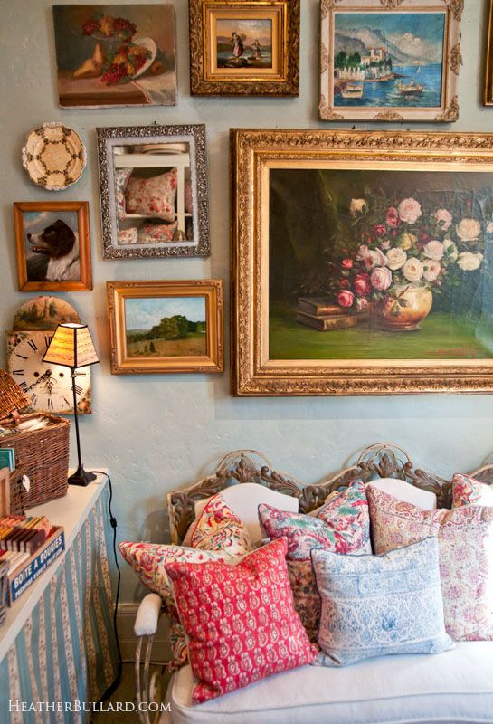 collage: Gold Frames, Lilly Antiques, Color Things, Cottages, De Lilly, Frames Arrangements, Antiques Frames, Old Paintings, Art Wall