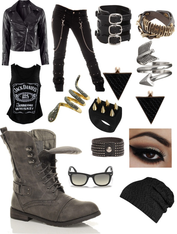 """biker chick"" by sarah-clawson ❤ liked on Polyvore"