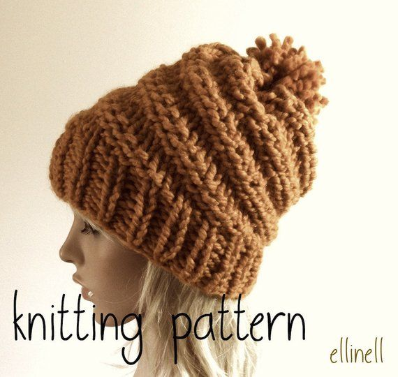 10bd7a4bdac Knitting Hat Pattern - Spiral Hat - Chunky Hat - Slouchy Hat - Beanie