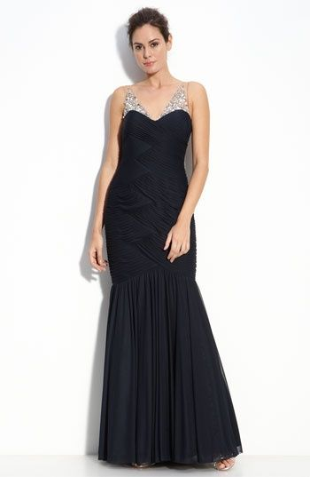 Adrianna Papell Illusion Bodice Chiffon Mermaid Gown available at #Nordstrom - JLimaPlanner.com