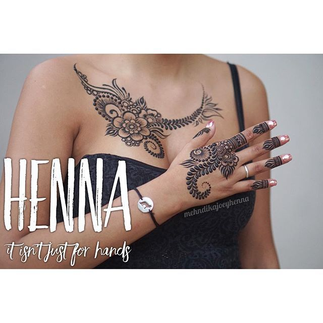 Henna has been traditionally used on hands and feet, but adornment elsewhere on the body is becoming more and more popular. @lucy_martin1825 got her hand, chest and matching feet! #henna #mehndi #hennacone #mehndicone #henne #bodyadornment