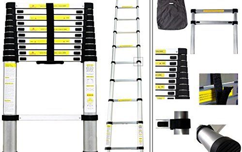 Todeco – Echelle Telescopique, Échelle Pliable – Charge maximale: 150 kg – Standards/Certifications: EN131 – 3,2 mètre(s), EN 131, Sac de…