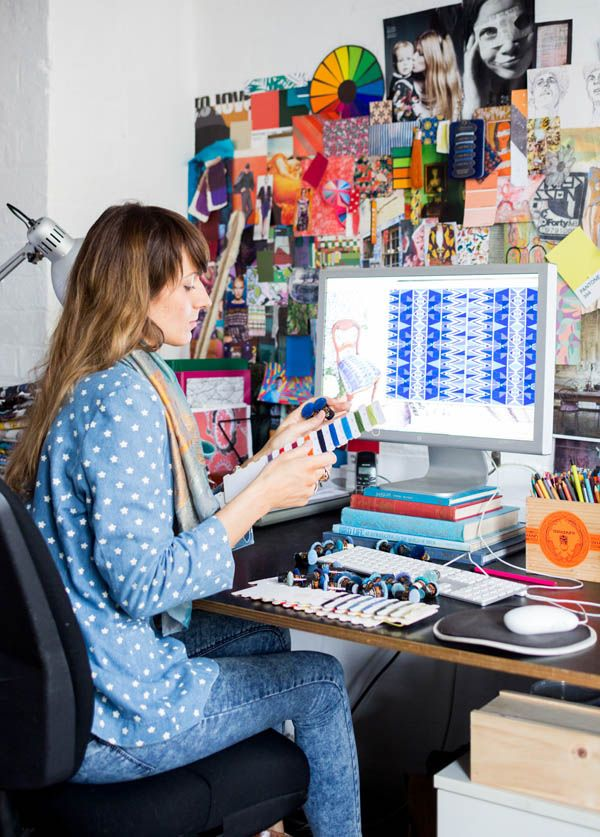 Brianna Pike in her Sydney studio of textile design house Sixhands. Photo- Phu Tang. Production- Lucy Feagins for thedesignfiles.net