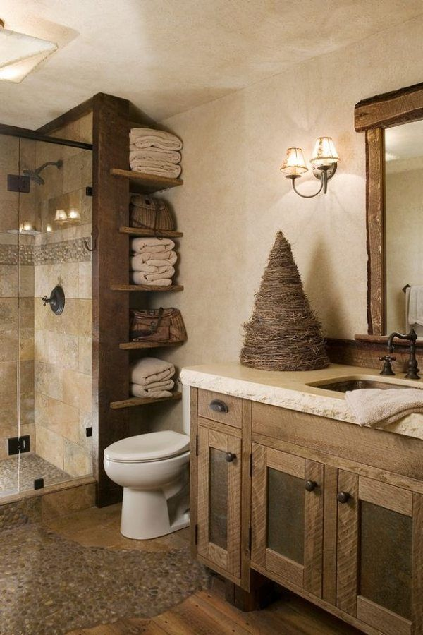 modern bathroom rustic decor wood furniture ideas vanity cabinet open shelves walk in shower - Modern Rustic Shower