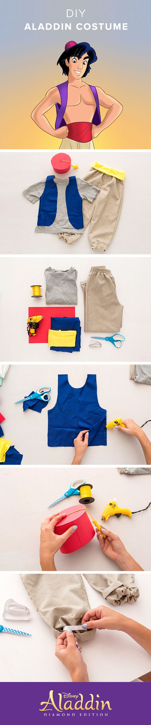 This Halloween, make your own Disney Aladdin Costume! Instructions: Use red paper and gold string to create a tasseled hat. DIY your own vest by using blue fabric. Fold in half and then cut out arm and neck holes. Use hot glue to glue the sides together. Fold over the bottom edge of the pants and use hot glue to make a hem. Leave an opening so you are able to insert elastic. Use hot glue to attach the ends of elastic together and close up the rest of the hem.