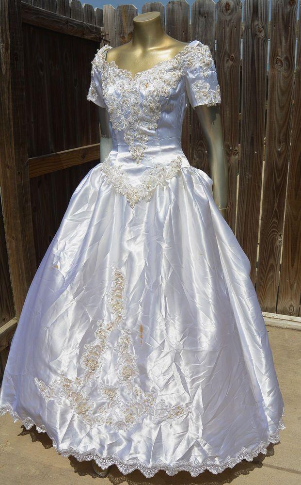 Vintage White Wedding Dress Off Shoulder A Line Beads Sequins S 6 Santa Monica