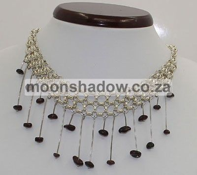 Garnet Necklace with chainmail detail. Length adjustable. #Handcrafted. Available at http://moonshadow.co.za/online_shop/necklaces/classic/necklace-gnckm001.html Ships Worldwide.