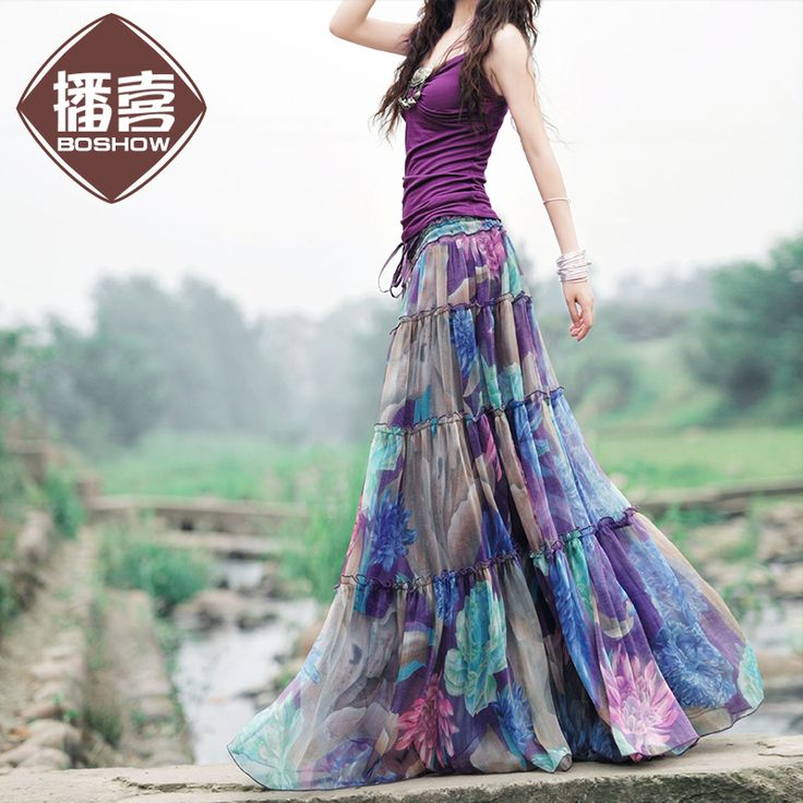 <b>Free Shipping 2015 New</b> Arrival Fashion Long Chiffon Skirt Floral ...