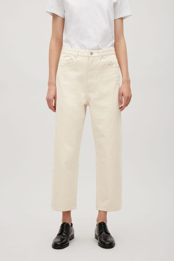 COS image 2 of Relaxed straight-fit jeans in Vanilla