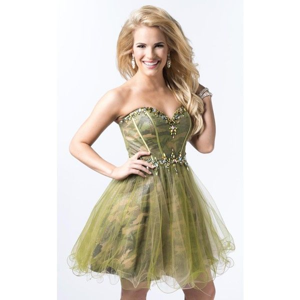 Epic Formals 3864 Homecoming Dress Mini Strapless Sleeveless ($366) ❤ liked on Polyvore featuring dresses, camoflage, formal dresses, short cocktail prom dresses, mini dress, short prom dresses, camo prom dresses and prom dresses