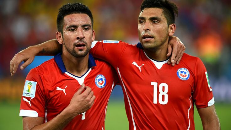 Mauricio Isla of Chile (L) and team-mate Gonzalo Jara of Chile celebrate http://1502983.talkfusion.com/es/products/
